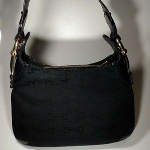 Authentic Gucci Horsebit Hobo Canvas Leather Bag